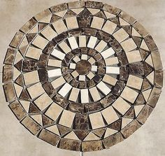 MOSAIC MARBLE AND TRAVERTINE MEDALLION 24 INCH SJ GRANITE FLOOR TILE ART