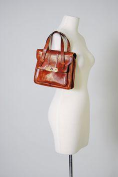 Vintage Leather Satchel Handbag Sienna 60s Leather Purse Brown Leather Bag Autumn Fall