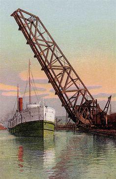Vintage Postcard, Bascule Bridge, Cleveland, Ohio    Vintage Postcard, Lake Erie & Wheeling Bridge, Cleveland, Ohio.