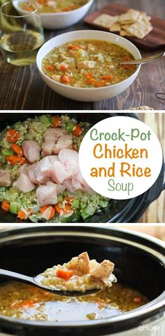 The definition of comfort food is this chicken and rice soup recipe! All made in a slow cooker, this soup is SO easy to make.  Full recipe here: http://www.ehow.com/how_12342939_slow-cooker-chicken-rice-soup.html?utm_source=pinterest.com&utm_medium=referral&utm_content=freestyle&utm_campaign=fanpage