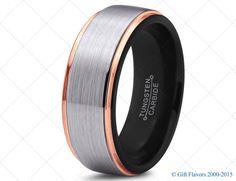 Black Tungsten Ring Rose Gold Wedding Band Ring Tungsten Carbide 8mm 18K Tungsten Ring Man Wedding Band Male Women Custom Anniversary Size