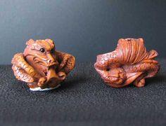 Carved & Signed BOXWOOD Crouching Dragon Bead 4128R - Premium Bead