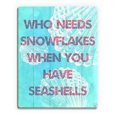 Horizon Seashells Over Snowflakes' Printed Wood Wall Art