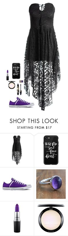 """""""Where Do I Turn?"""" by feathertail1213 ❤ liked on Polyvore featuring Sans Souci, Casetify, Max Factor, Converse, Kirsty Taylor and MAC Cosmetics"""