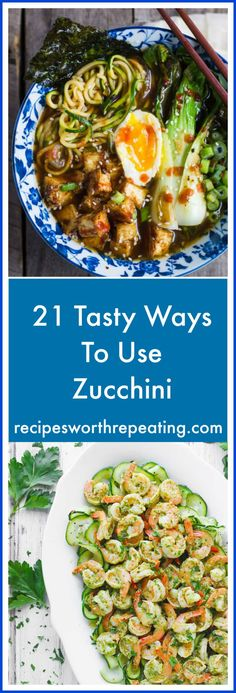 Zucchini is one versatile vegetable! Zoodles, cakes, slaw vanilla frosting...and that's just a start! I've got 21 AMAZINGLY tasty ways to use zucchini! #zucchini #zoodle #vegetable | recipesworthrepeating.com