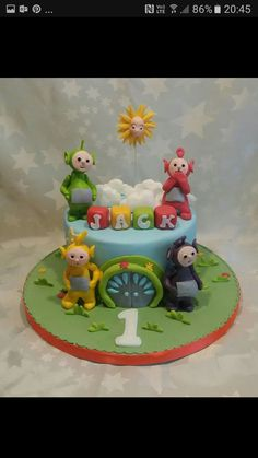 2 Birthday Cake, Birthday Board, First Birthday Parties, 50th Birthday, First Birthdays, Teletubbies Birthday Cake, Teletubbies Cake, Party Themes, Party Ideas