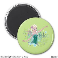 Elsa   Giving from the Heart 2 Inch Round Magnet