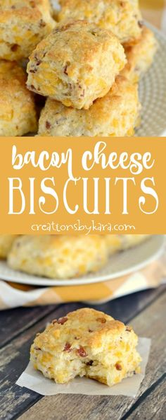 Bacon cheese biscuits are a great side to any meal, but they are especially yummy served with soup! A wonderful savory biscuit recipe. via creationsbykara.com