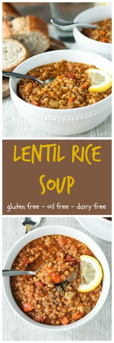 Lentil Rice Soup - packed with protein, fiber, vitamins and minerals, full of flavor and super hearty, this soup will warm your belly and your soul. It takes only 50 minutes and the majority of that is hands off! Throw in the pot after work, help your kids with their homework and then enjoy a big cozy bowl of this nourishing Lentil Rice Soup.