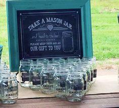 Wedding Favor - Personalized mason jars from Bride and Groom Mason Jar Wedding Favors, Wedding Cups, Wedding Party Favors, Our Wedding, Wedding Ideas, Wedding Invitations, Mason Jars For Weddings, Country Wedding Favors, Dream Wedding