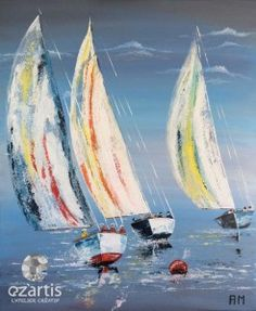 Tableau peint la main voilier 31 5x31 5 for Peinture interieur bateau