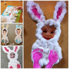 Easter bunny made using a childs photograph and foot prints its wonderful diy easy and cute easter hand foot print art negle