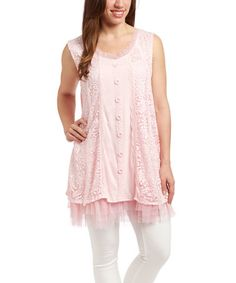Another great find on #zulily! Pink Lace-Fringe Linen-Blend Tunic - Women #zulilyfinds
