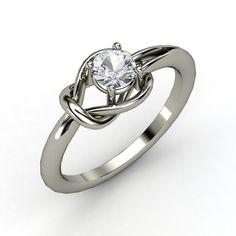 Round White Sapphire 14K White Gold Ring - Hercules Knot Ring   Gemvara