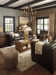 Dark chocolate and cream—such a deliciously rich look. Best of all? Our Allenpark seating combines genuine and faux leathers (plus a punch of tweed!) for luxurious and affordable lounging.