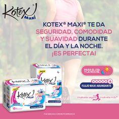 Kotex® Maxi® te brinda *EXTRAPROTECCION* durante el día y la noche! Gracias a sus multicanales que concentran el flujo y su exclusivo Absorgel® que lo gelatiniza! Pruébenlas!!