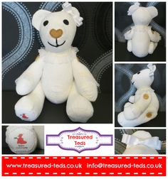 A memory bear made from a christening outfit <3 www.treasured-teds.co.uk
