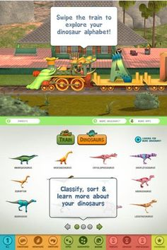 What a fun way to learn about Dinosaurs! One Dinosaur for each letter, kids learn fun facts, see the bone structure through X-ray, ... a fun app from PBS Kids - Dinosaur Train A to Z #kidsapps