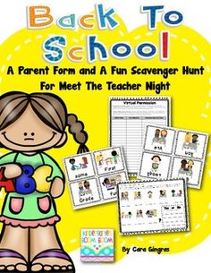 Free - Back To School - parent form and scavenger hunt for Meet the Teacher Night