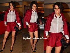 Saif and Kareena threw a party at their home on Sunday evening and in attendance was Kangana wearing a lip collared shirt with a scalloped cropped blazer and matching shorts, all from Red Valentino. Pairing the separates with a Gucci Sylvie bag, she finished out her look with black pumps. Wearing the
