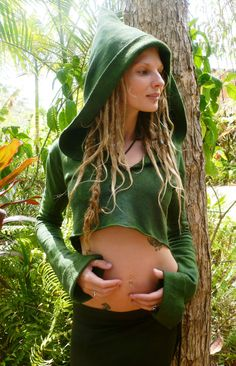 Hemp Forest Pixie Nymph Hoody with Mandala Energy Burst.Etsy