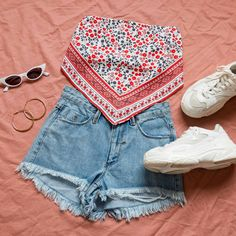 89528e8be9b55 Edgar Scarf Crop Top, Destroy Cobra Shorts - Reckless Blue, Mutha Sneakers  - White