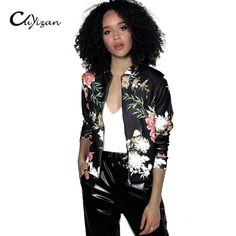 Cheap Basic Jackets, Buy Directly from China Suppliers:Jacket Women Black O Neck Bomber Jacket 2018 Print Floral Black Coat Casual Zip Up Basic Outerwear Coats Jackets Plus Size Girls Bomber Jacket, Bomber Jacket Winter, Floral Bomber Jacket, Printed Bomber Jacket, Bomber Jackets, Blazer Jacket, Coats For Women, Jackets For Women, Fashion Mode