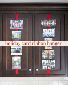 "This easy holiday card ribbon hanger solves the ""what to do with all the cards? Christmas Hanukkah, Christmas Ribbon, Holiday Cards, Hanger, Favors, My Favorite Things, Simple, Silver, How To Make"