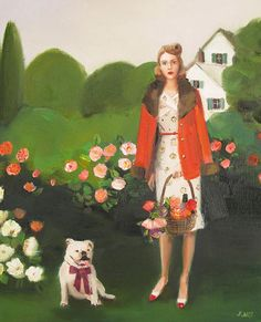 art fair fridays janet hill beatrice in the gardenchristine dovey heirloom and knot Janet Hill, Canadian Painters, Canadian Artists, Studios D'art, Cello, Dog Art, Fine Art Paper, Amazing Art, Illustration Art