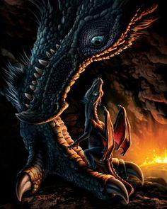Madre y bebé dragón, de Anne Stokes