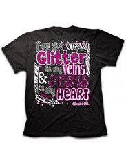 Cherished Girl Glitter in my Veins Jesus in my Heart Zebra Girlie Chri | SimplyCuteTees