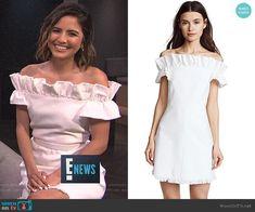 Erin's white ruffled off-shoulder dress on E! News.  Outfit Details: https://wornontv.net/98050/ #E!News