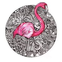Pink Flamingo Art Print by squidoodle Doodle Art Drawing, Zentangle Drawings, Drawing Artist, Bird Drawings, Drawing Ideas, Mandala Art, Mandala Drawing, Tropical Tattoo, Tropical Art