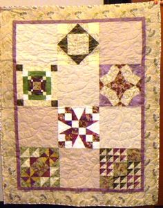 A serene quilt sampler, made from home-dyed fabrics and beautifully sewn by Connie Sloan and Lynne Johnson.