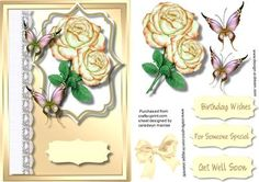 Beautiful Cream Roses and Butterfly s  on Craftsuprint - Add To Basket!