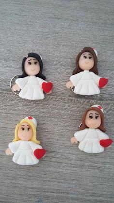 Chaveiros enfermeira de biscuit