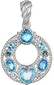 Judith Ripka Sterling Blue Topaz & Diamonique Enhancer