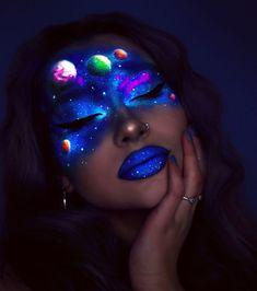 Amazingly Dreamy Neon Makeup Art by Rita Synnove Sharma – Ces Maquillages Neon A… Cool Makeup Looks, Crazy Makeup, Cute Makeup, Pretty Makeup, Gorgeous Makeup, Eye Makeup Art, Dark Makeup, Eyeshadow Makeup, Body Makeup