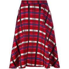 Ultràchic checked A-line skirt ($287) ❤ liked on Polyvore featuring skirts, red, patterned skirts, knee length a line skirt, a-line skirt, checked skirt and checkerboard skirt