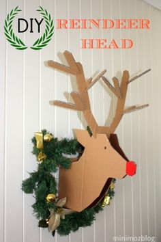 minimoz: DIY - Reindeer Cardboard Head & wreath for minimal cost & full instructions & template to make your own 'Rudolf'.