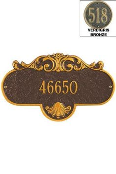 Rochelle One-Line Standard Wall Address Plaque - standard/1 line, Verdigris/Bronz by Home Decorators Collection. $85.00. Rochelle One-Line Standard Wall Address Plaque - It's Your Own Little Corner Of The World - So Why Not Mark It With Pride? A House Sign Announces A Message Of Distinction. These Premium, Textured And Dimensional Address Plaques Are Designed With Large Letters And Numbers For Maximum Visibility. Choose From Our Exceptional Array Of Custom Address Plaques To Fi...
