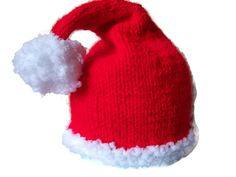 Baby Santa Hat, Hand knitted photo prop, £8.99