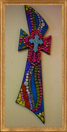 Large Multi Color Mosaic Cross with Metal Crosses