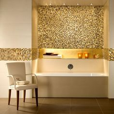 Beautiful gold tiles by Villeroy & Boch.    Product image for V & B Moonlight Mosaic Tiles 1042 (30 x 30cm).  Available form UK Bathrooms