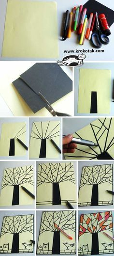 Cubism Autumn - cute craft idea, can do it in any season, spring flowers, winter snowflake, summer sunset...