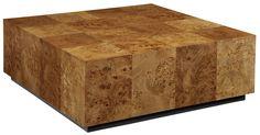 Emerson et Cie | 13030 Natoma Cocktail Table We have slip-matched the beautiful Mappa Burl veneer panels allowing for light and dark areas within the cube, giving it a sense of movement and texture.  This is 100% Made in USA. #HPmkt 520 N. Hamilton St.
