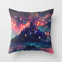 Throw Pillows featuring The Lights by Alice X. Zhang