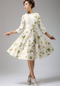 floral print dress midi dress linen dress 672 by xiaolizi on Etsy, $79.00