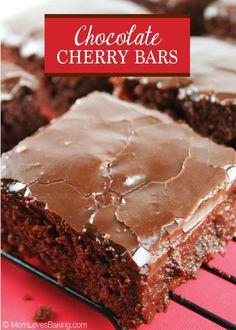 Chocolate Cherry Bars -like a chocolate sheet cake with cherries. Yummy! #ChocolateSheetCake