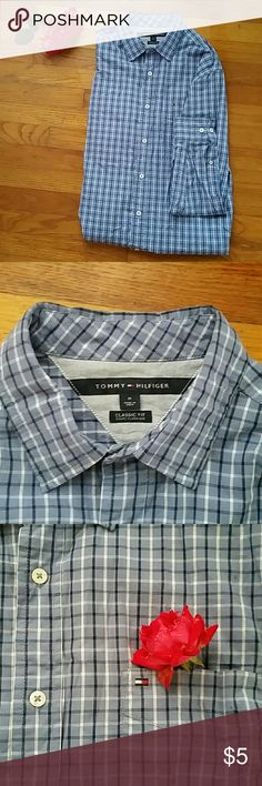 Tommy Hilfiger button up Mens blue plaid, Tommy Hilfiger, button up shirt Tommy Hilfiger Shirts Casual Button Down Shirts